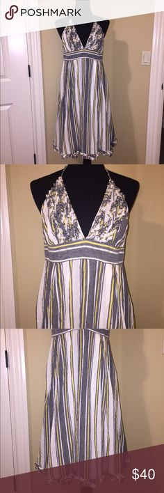 """J. Crew Sylvan Ruffle Halter Dress J. Crew striped linen dress. Beautiful linen dress perfect for spring/summer. White, gray and yellow stripe with ruffles on bust. Halter ties at neck. Lined. Zips up back. 37"""" from top of bust. 64% linen/36% cotton. Size 12. J. Crew Dresses"""