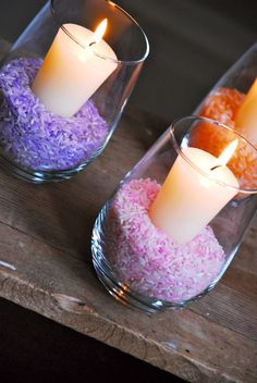 Dyed Rice Candleholders | Family Chic by Camilla Fabbri ©2009-2012. All rights reserved. The blog