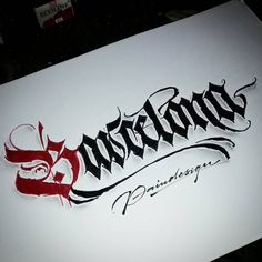 'Barcelona' stay strong #calligraphy #calligraphymasters #calligraffiti #handlettering #handwriting #handstyle #freehand #lefthand #lefty #gothic #custom #fraktur #lettering #effect #paindesignart @handmadefont #tyxca #typematters #typism #typegang #goodtype #artoftype #thedailytype #designspiration #barcelona
