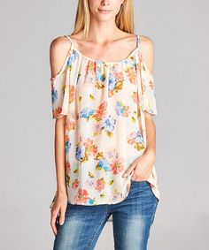 Love this Yellow Floral Cutout Tunic on #zulily! #zulilyfinds