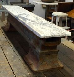 """Railroad Tie With Marble Top   Dealer #444  45.5"""" Wide x 10.5"""" High x 8"""" Deep   $275  Lucas Street Antiques Mall 2023 Lucas Dr.  Dallas, TX 75219  Located close to Dallas' Design District"""