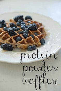 Protein powder waffles--made of protein powder, banana, egg whites, and nuts.  So delicious and filling!  And even husband approved!