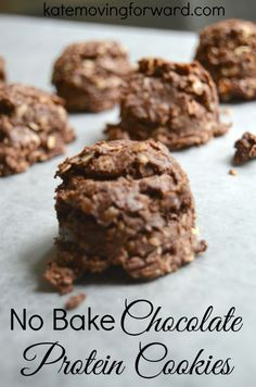 No Bake Chocolate Protein Cookies - No Bake Cookies - High Protein Snacks - Healthy Snack Recipes - Healthy Dessert Recipes - Healthy Recipes Protein Cookies, Healthy No Bake Cookies, Chocolate No Bake Cookies, Healthy Protein Snacks, Protein Bites, Protein Foods, Healthy Treats, Healthy Baking, Protein Cookie Recipe