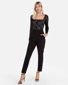 cc2893ae0651 NEW EXPRESS BLACK LACE BODICE JUMPSUIT SZ 0  fashion  clothing  shoes   accessories