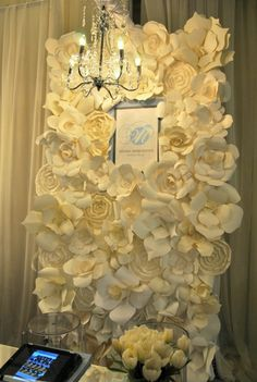 Paper floral backdrop by Melissa Andre Events at The Wedding Co Show 2012.