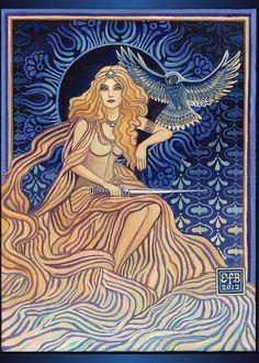 Minerva Roman Goddess of Wisdom ACEO Altar Art Mini Print Bohemian Art Nouveau Goddess Art Minerva Goddess, Greek Goddess Of Wisdom, Goddess Art, Greek Goddess Tattoo, Moon Goddess, Altar, Roman Mythology, Greek Mythology, Bohemian Art