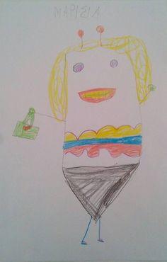 Η Μαρίσια μάλλον θέλει πολύ να πάει στη θάλασσα για κολύμπι. Έτσι ενώ αρχικά ζωγράφισε ένα ζουζούνι, στη συνέχεια πρόσθεσε τσάντα, μαγιό και παρεό. Έτοιμο για βουτιά!!