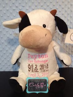 Cubbie stuffed cow subway art style embroidered by curlyQdesign, $36.00