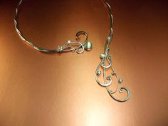 Moon & Stars Torc Necklace, Sterling 925 Bridal Jewelry, Wedding Jewelry, Celtic Elven Elvish LOTR Hobbit Renaissance Medieval Reign