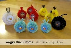 Angry Birds & Piggies Poms -- could be cute straw toppers or embellishments of some sort