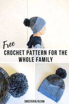 06769c3f6a9 A free crochet slouchy beanie pattern for the whole family. The PDF pattern  comes in