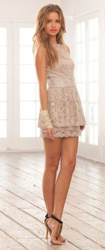 Lace Sleeveless Short Dress in Mauve, Alexis clothes...loving the shoes...