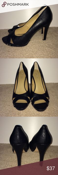 """Nine West 4"""" Black Open Toe Heels Size 10 Worn once for photo shoot only. Nine West 4"""" Black Open Toe Heels. Women's size 10. No scuffs or damage to shoes. Nine West Shoes Heels"""