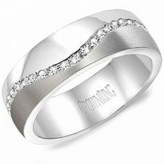 Crown Ring - Collections Wedding Bands Diamond Bands Wb 8033 available at VandenDool Jewellers Wedding Bands For Him, Mens Diamond Wedding Bands, Diamond Bands, Wedding Men, Wedding Attire, Gold Wedding, Wedding Ideas, Band B, Rings For Men