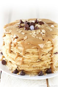 Peanut Butter Oatmeal Chocolate Chip Cookie Pancakes | Community Post: 23 Mouthwatering Peanut Butter Recipes