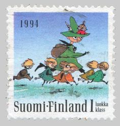 FINLAND - CIRCA a stamp printed in the Finland shows Seven Running, Moomin Characters, by Tove Jansson, circa 1993 Postage Stamp Art, Tove Jansson, Stamp Printing, Small Words, Tampons, Children's Book Illustration, Mail Art, Stamp Collecting, Illustrators