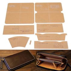 Details about DIY Leather Craft Acrylic Clutch Bag Handbag Pattern Stencil Template Tool Set DIY Lea Leather Diy Crafts, Leather Bags Handmade, Leather Projects, Leather Craft, Mason Jar Crafts, Mason Jar Diy, Leather Wallet Pattern, Handbag Patterns, Leather Working