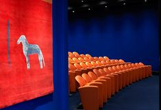 The entry to the state-of-the-art screening room with 130 comfortable leather seats in bright coral and electric blue walling. Modern Bedroom Design, Modern Interior Design, Colour Combinations Interior, Picture Frame Inspiration, Zen Style, Bright Rooms, Room Screen, Unique Wall Decor, Beautiful Bedrooms
