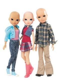 Finally some bald barbie dolls-well actually Bratt Dolls.  Great toy for children living with alopecia or going through cancer treatment!