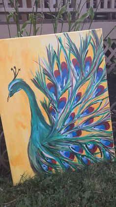 Peacock painting on canvas, easy acrylic handpainting. (Handpainted peacock)