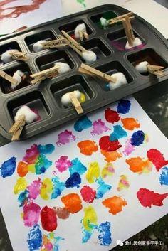 棉球棉花幼兒園小班親子手工大全,粘貼畫塗鴉遊戲等多種玩法