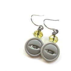 Pale Gray Vintage Button Earrings with Yellow by buttonsoupjewelry, $7.50