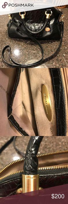 Brahmin Black Purse Black, 1 small zip, 1 large zip, 2 pockets, 1 keychain & 1 pen holder on the inside, 1 outside pocket, gold tone hardware,  size height 9 inches, width 13 across bottom, Brahmin Bags Crossbody Bags