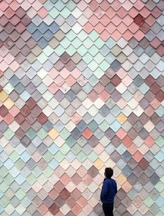 Handmade concrete tiles give a scaly facade to this collaborative workplace building designed by Assemble for artists and designers in east London. Textures Patterns, Color Patterns, Color Schemes, Concrete Tiles, Muted Colors, Bauhaus, Wall Design, Color Inspiration, Wall Art Prints