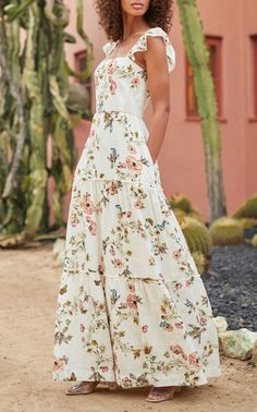 Floral Tiered Linen Maxi Dress by MONIQUE LHUILLIER for Preorder on Moda Operandi Drape Gowns, Feminine Dress, Tiered Dress, Monique Lhuillier, Chiffon, Glamour, Floral, Spring Summer, Fashion Design