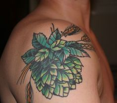 Traditional hops and barley by Tomek Szumiec at Name Brand Tattoo; Ann Arbor, MI.
