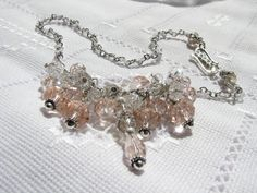Necklace Crystal necklace Bridal necklace White and Pink Glass necklace Beaded necklace Dangle necklace