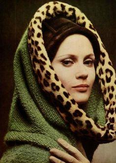 Christa Fiedler in green wool hooded jacket trimmed in leopard by Nina Ricci, 1962