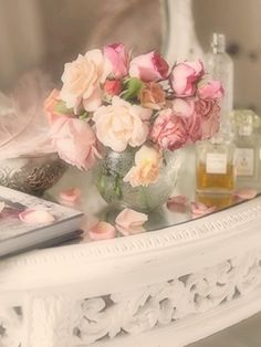 vintage dressing table be vintage style flowers, pinks creams white , vanity table