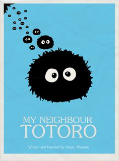 Makkuro Kurosuke minimal poster for My Neighbour Totoro.