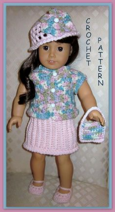 Doll clothes crochet pattern fits 18 inch american girl 23