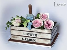Wooden Box with Flowers by Lorna