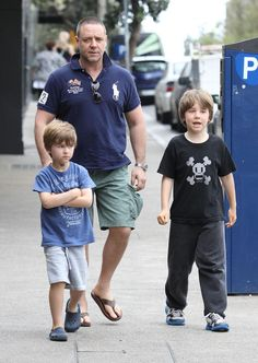 Russell Crowe and his boys, Tennyson & Charlie