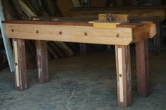 Decorative workbench  – constructed from reclaimed timber. Price: $750 Raw Furniture, Rustic Furniture, Furniture Making, Reclaimed Timber, South Australia, Farmhouse Table, Entryway Tables, Recycling, Home Decor