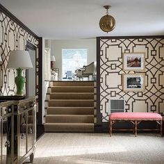 Foyer with Mirrored Cabinet, Transitional, Entrance/foyer Michael Devine Fretwork upholstered walls wallpaper Entrance Foyer, Entryway Decor, Stone Accent Walls, Upholstered Walls, Foyer Design, Foyer Decorating, Connecticut, Building A House, Interior Design