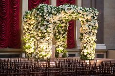 Green and White Floral Chuppah    Photography: Roey Yohai Photography   Read More:  http://www.insideweddings.com/weddings/formal-wedding-inspired-by-central-park-springtime-in-new-york/683/