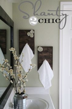 DIY Towel Hooks DIY ~ Rosette Towel Racks~ this would be a fun gift idea to make for a kitchen too! Maybe a house warming gift idea! Guest Bathrooms, Chic Bathrooms, Master Bathroom, Master Shower, Relaxing Bathroom, Bathroom Closet, Ideas Baños, Decor Ideas, Shanty 2 Chic
