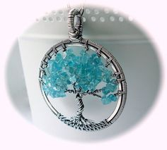 Tree of Life pendant Turquoise necklace Wire by Weaversfield