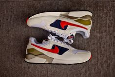 Nike Pegasus 92 QS OG - White / Navy / Red | Kith NYC Basketball Sneakers, Sneakers Nike, Nike Pegasus, Nike Shoes Outlet, Track And Field, Casual Shoes, Running Shoes, Athlete, Kicks