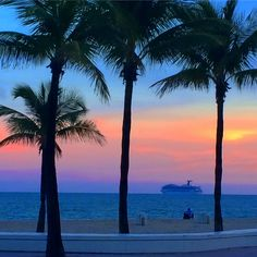 Amazing sunset in Fort Lauderdale for happy hour at a beach bar watching the cruise ships sail away. Perfect vacation spot!