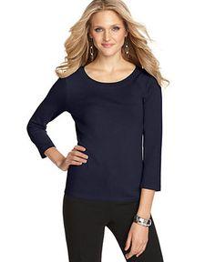August Silk Sweater, Three-Quarter-Sleeve Silk-Blend Scoop-Neck - Sweaters - Women - Macy's, web id 1086274, price 29.98$ everyday value XL
