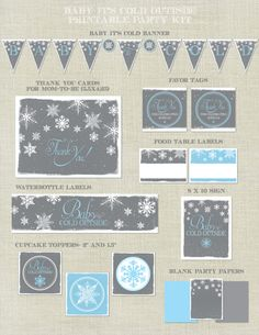 Baby It's Cold Outside Shower Printable Party Decoration Kit / Snowflakes / Snow / Winter / Green Blue Pink Grey / DIY / Banner / Package Asay I think I like this set, what do you think? Snowflake Baby Shower, Christmas Baby Shower, Baby Shower Winter, Baby Shower Fun, Baby Shower Themes, Shower Ideas, Baby Cold Outside, Outside Baby Showers, Sprinkle Shower