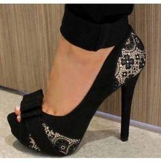 Glamorous Black Flower Print Peep Toe Heels $79.09