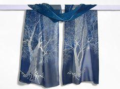 silk scarves White Tree of Gondor long silk scarf  by MinkuLUL