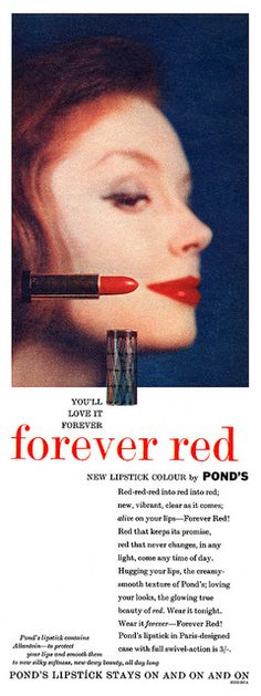 Pond's Lipstick - you'll love it forever! #vintage #1950s #make_up #ads