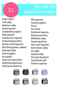 31 uses for the Double Duty Caddy. Thirty-One Gifts www.mythirtyone.com/jenniferspacht